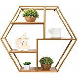 Floating <b>Shelves Wall</b> Mounted Hanging Hexagon Storage Flower ...