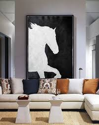 Vertical <b>Minimal Art</b> #MN231B   Horse oil <b>painting</b>, White <b>canvas art</b> ...