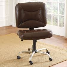 furniture brown leather armless office chair with steel adjustable height base and wheels on brown bedroomastonishing office chairs wheels