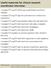 top  clinical research coordinator resume samples       useful materials for clinical research coordinator