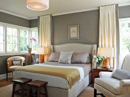 marvelous grey bedroom colors: pale yellow curtain for country styled grey bedroom ideas and drum pendant lamp