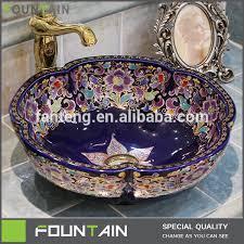 ceramic basin bathroom sink wash design flower design modern artistic bowl bathroom sink wash bain ceramic bas