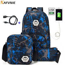<b>3pcs USB Male backpack</b> bag <b>set</b> red and blue high school bag for ...