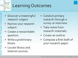 planning and writing a research paper learning outcomes