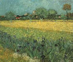 View of Arles with Irises in the Foreground