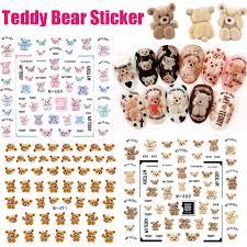 3D Nails Art Sticker Colorful Teddy Bear <b>Lovely</b> Little Bear Harajuku ...