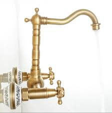 Free shipping 2 Handle Wall mounted <b>Antique Brass Kitchen Faucet</b> ...