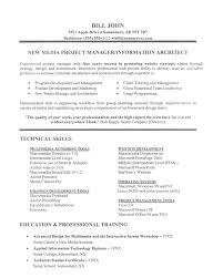 Example Resume  Information Architect And Technical Skills Also Professional Training For Software Project Manager Resume Example Resume  Career