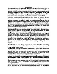 macbeth essay role of lady macbeth   gcse english   marked by    page  zoom in