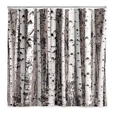 tree bathroom accessories birch forest shower curtain  thumbnail