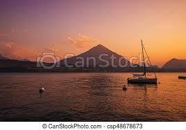 Interlaken lake <b>sunset scenery</b>. <b>famous</b> swiss city of interlaken ...