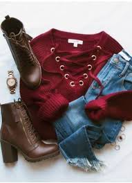 Elsa <b>Lace</b> Up Sweater <b>Burgundy</b> in <b>2019</b> | <b>Winter</b> outfits 2017 ...