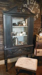 storage hutches pinterest antique china cabinet makeover by zoeys painted black distressed and h