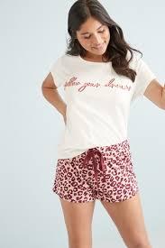 Розовый с леопардовым узором - <b>Пижама с шортами из</b> ткани с ...