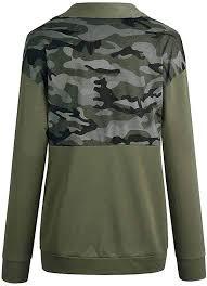 Women 1/4 Zip <b>Pullover Camouflage Sweatshirt</b> Color <b>Block</b> Shirts ...