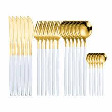 24 шт. <b>набор</b> золотых <b>столовых приборов 18</b>/10 <b>набор столовых</b> ...