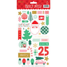 My Minds Eye Christmas Holly Jolly Stickers with Foil Accents