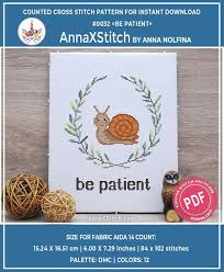 <b>Snail</b> Be patient Modern cross stitch <b>pattern</b> pdf baby by | Etsy