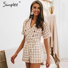 Simplee <b>V neck</b> short sleeve plaid <b>women</b> playsuit <b>Elegant</b> casual ...