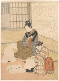 ukiyo e colour print of two finely dressed ese women by a heater the and other