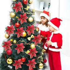 <b>10pcs</b> Artificial Flowers <b>Christmas Tree</b> Ornaments Wedding Party ...