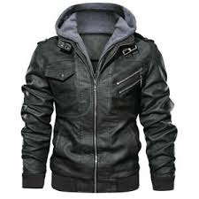 <b>Mens Hooded Leather Jacket</b> Medium for sale | eBay