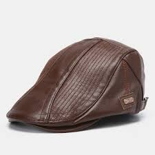 <b>Men's Leather</b> Beret Hat Casual Newsboy Cap Warm Hats With ...