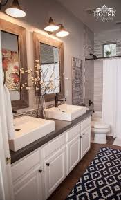 love the rustic accents elegant white sinks and cabinetry and the gray back splash in brilliant 12 elegant rustic