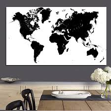 Large Size Abstract <b>Black</b> and White <b>World Map</b> Modern Painting on ...