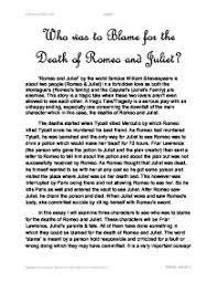 romeo and juliet death essay  www gxart orgwho was to blame for the death of romeo and juliet gcse english page