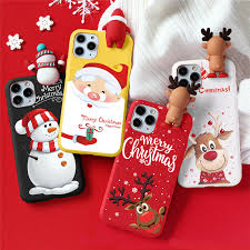 <b>Cute 3D Doll</b> Cartoon Christmas Santa Reindeer Soft Phone Case ...