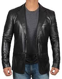 <b>Black Leather</b> Blazer for <b>Men</b> - <b>Genuine</b> Lambskin Brown <b>Leather</b> ...