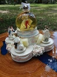 Disney Princess Wedding Cake Musical Snowglobe Water <b>Snow</b> ...