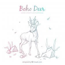 Free Vector | <b>Boho</b> background with <b>deer</b>