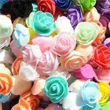 <b>50pcs</b>/ Bag <b>Multicolor</b> Mini PE <b>Foam Rose</b> Head Artificial Handmade ...