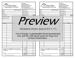 handyman invoice work order change order mark up cost   handyman invoice 55″ x 85″ fits in a half size invoice case
