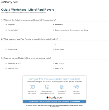 quiz worksheet life of paul revere com print paul revere biography facts quotes worksheet