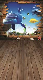 3D Fish Brick Wall Wood Floor Photo Background Backdrop in 2020 ...