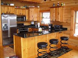 image of rustic log cabin kitchens cabin lighting ideas