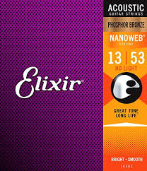 <b>Elixir</b> Nanoweb <b>Phosphor Bronze Acoustic</b> Guitar Strings - HD Light ...