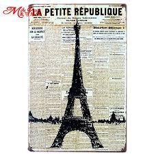 [ <b>Mike86</b> ] LA PATITE News Eiffel Tower Metal Plaque Gift PUB Wall ...