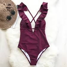 CUPSHE Burgundy Heart Attack Falbala <b>One piece</b> Swimsuit ...