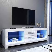 ELEGANT 1600mm <b>LED</b> TV Cabinet <b>Modern White</b> Gloss TV ...
