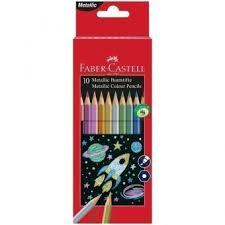 <b>Карандаши цветные Faber-Castell</b>, <b>10</b> цветов, металлик, заточен.