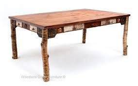 distressed adirondack dining table rustic birch bark dining table bark furniture