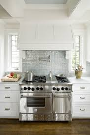 Simple Ann Sacks Glass Tile Backsplash Crisp White Shaker Kitchen Cabinets Carrara Marble Intended Inspiration Decorating