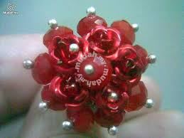ABRSB-R003 Red <b>Flowers</b> Beads Silver <b>Metal</b> Ring FS - Watches ...