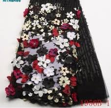 2019 2019 High Quality African Fabric <b>3D</b> Flowers With <b>Beaded</b> ...