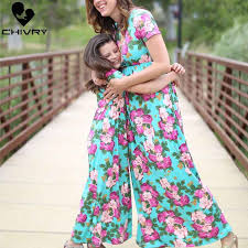 New <b>Mother Daughter Dresses</b> Sleeveless Floral Long <b>Dress</b> ...