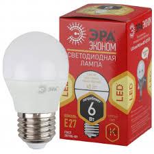 <b>ECO LED</b> P45-6W-827-E27 <b>ЭРА</b> (диод, шар, 6Вт, тепл, E27. (10 ...